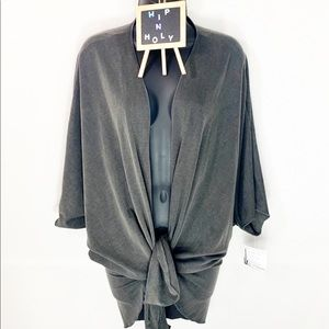 ADORA Washed French Terry Cloth Kimono Gray Small